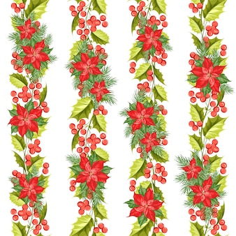 Christmas seamless pattern. mistletoe on white background.