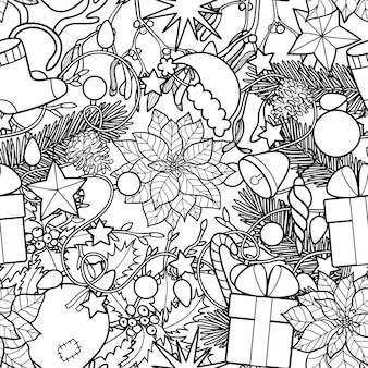 Christmas seamless pattern new year black and white wallpaper for  coloring page and textile prints