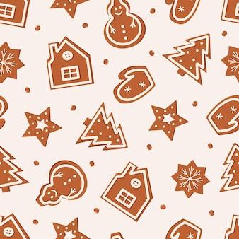 カーリージンジャーブレッドのクリスマスのシームレスなパターン。さまざまな形のおいしいチョコレートクッキーの背景。