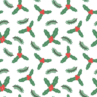 ヒイラギの枝とベリーのクリスマスのシームレスなパターン新年のお祭りの背景