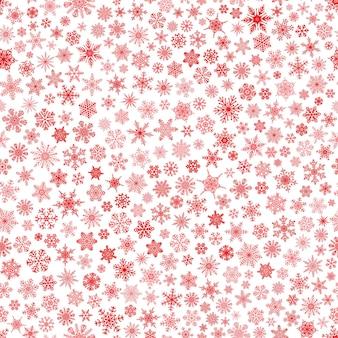 작은 눈송이의 크리스마스 원활한 패턴, 흰색에 빨간색