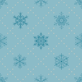 雪片とドットのクリスマスのシームレスなパターン、水色に青