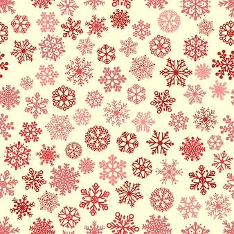 Рождественский фон из снежинок, красный и коричневый на белом