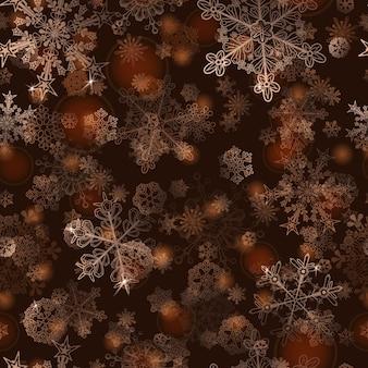 雪片のクリスマスのシームレスなパターン、金に白
