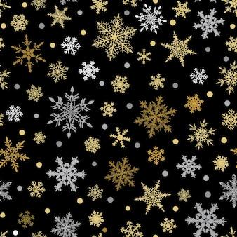 雪片のクリスマスのシームレスなパターン、黒の背景に黄色と水色。
