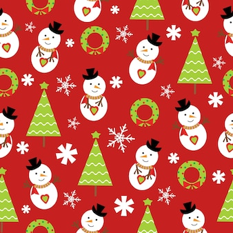 Christmas seamless pattern of snowman and Xmas tree on red background