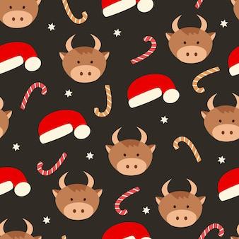 Рождество бесшовные модели головы быка и санта шляпу сладкие леденцы.
