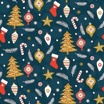 青色の背景にクリスマスのシームレスパターン