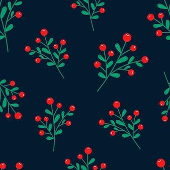 ポインセチアの花、松の枝、ベリーとピンクの背景にクリスマスのシームレスなパターン。バックグラウンド。