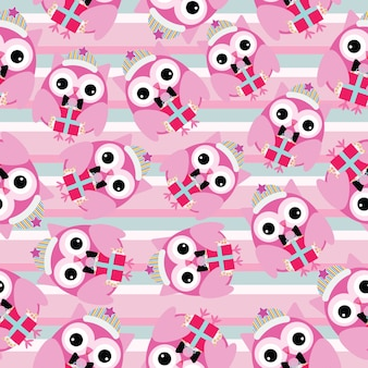 Christmas seamless pattern owl and Xmas gift boxes on striped background