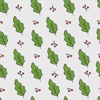 Рождественский фон. образец с листьями и ягодами.