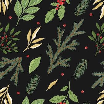 クリスマスのシームレスなパターン。松の小枝、赤いベリー、クリスマスツリー。冬のクリスマス休暇。