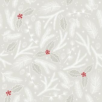 クリスマスのシームレスなパターン。松の小枝、赤いベリー、雪片。季節の挨拶デジタルペーパー。冬のクリスマス休暇