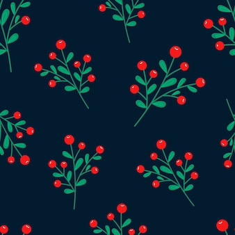 Christmas seamless pattern on pink background with poinsettia flowers, pine branches and berries. background.