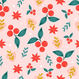 Christmas seamless pattern on pink background