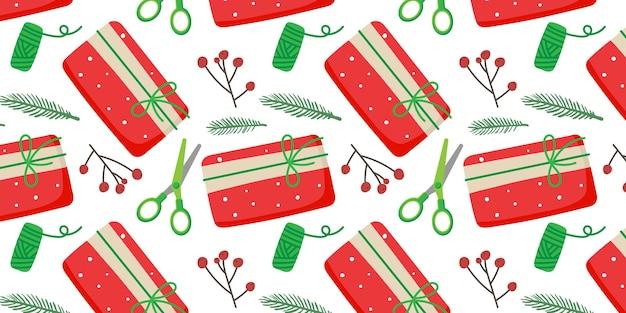 クリスマスと新年のはさみベリーフレッドボックスのクリスマスシームレスパターンの準備
