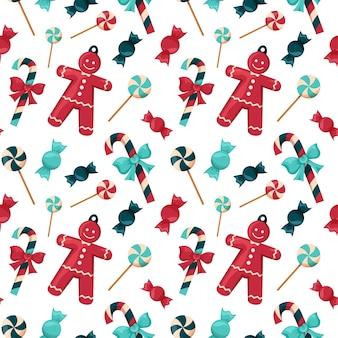 Рождественские бесшовные красные и синие конфеты и леденцы на палочке новогодний дизайн