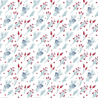 Christmas seamless pattern of red berries, pine branch