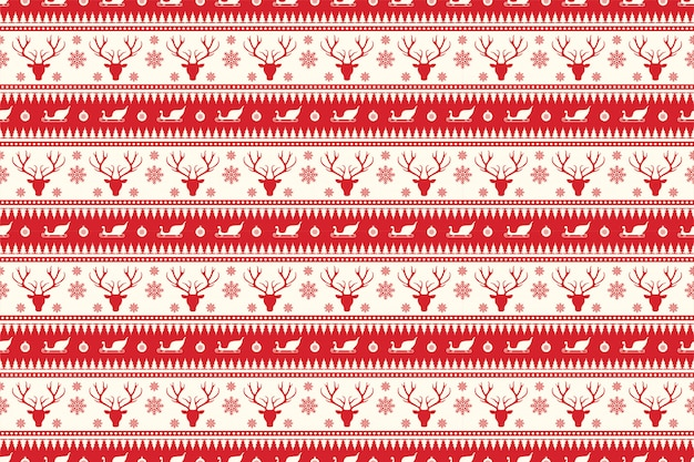 Christmas seamless pattern in red color