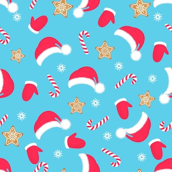 Christmas seamless pattern. santa claus hat, mittens, gingerbread, lollipop. new year s decoration.
