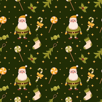 Рождественские бесшовные елочные игрушки санта-клауса и сладости на зеленом фоне