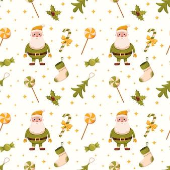 Рождественские бесшовные модели санта-клауса елочные игрушки и сладости печать и дизайн для подарочной упаковки