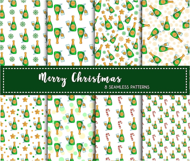Christmas seamless pattern set - champagne drink or beverage, bottle wine, endless texture