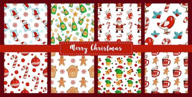 Christmas seamless pattern set kawaii new year bullfinch, snowman, candy cane, gingerbread man