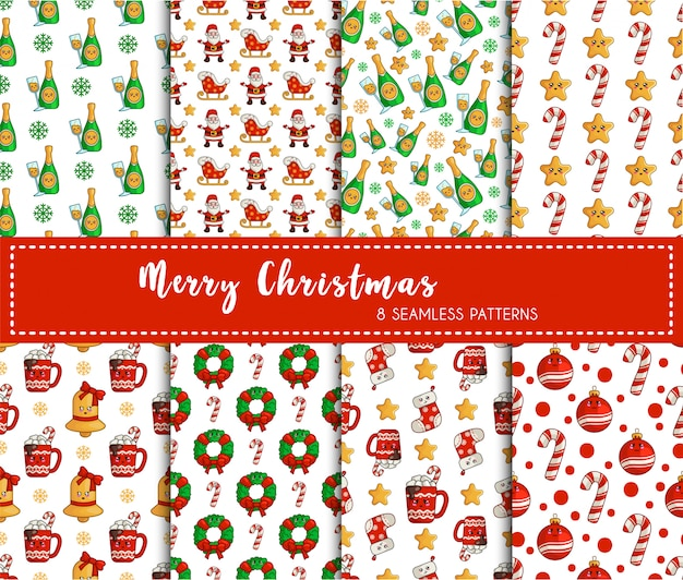 Christmas seamless pattern set, new year decorations