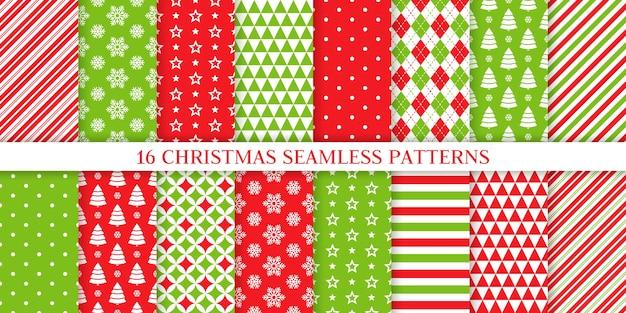 クリスマスのシームレスなパターン。無限のパターンのセット。
