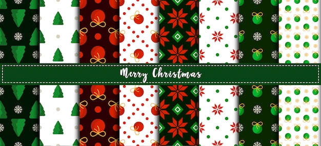 Christmas seamless pattern set with abstract geometric ornament in greeen red colors