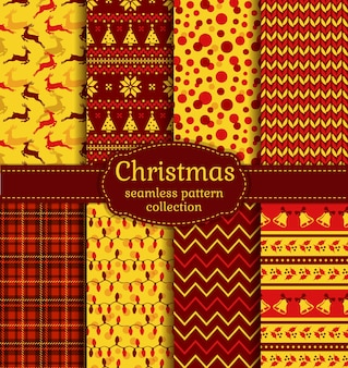 Christmas seamless pattern set with deer, holly, bells, and abstract shapes.