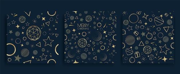 Рождественский фон с золотыми геометрическими элементами. новогоднее украшение фон.