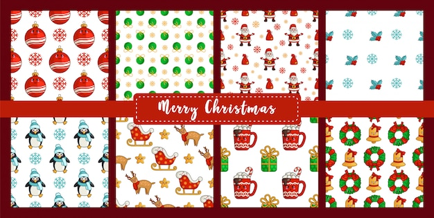Christmas seamless pattern set with kawaii penguin, reindeer rudolf, santa claus sleigh