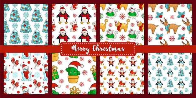 Рождество бесшовные модели с новогодними персонажами - каваий снеговик, кошка, мышь или крыса, дерево, кактус, дед мороз