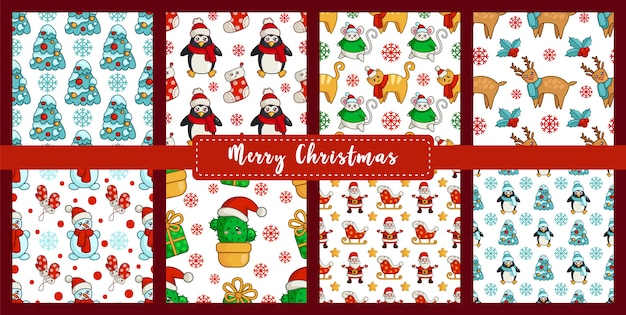 Christmas seamless pattern set with new year characters - kawaii snowman, cat, mouse or rat, tree, cactus, santa claus