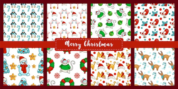 Christmas seamless pattern set with new year characters