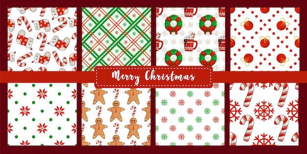 Christmas seamless pattern set with new year decorations  candy cane, snowflake, socks, gingerbread man