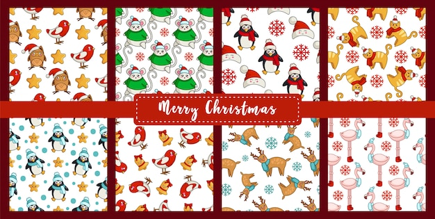 Christmas seamless pattern set with new year kawaii animals, birds - bullfinch, reindeer, flamingo, mouse