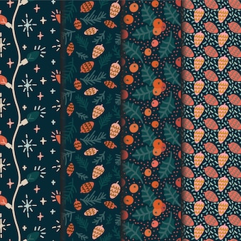 Christmas seamless pattern set for wrapping paper or wallpaper