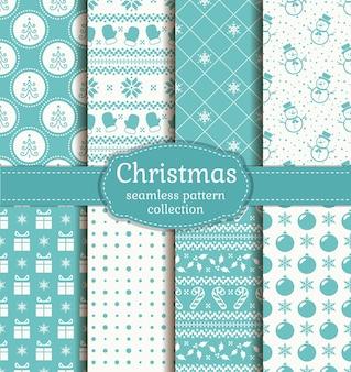 クリスマスのシームレスなパターンセット。