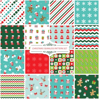 Christmas seamless pattern set.