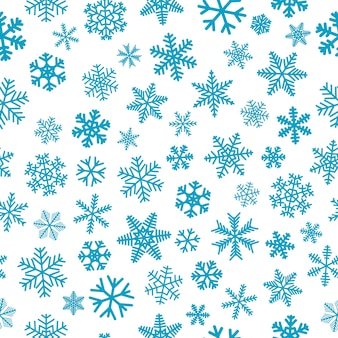 Christmas seamless pattern of snowflakes, light blue on white background