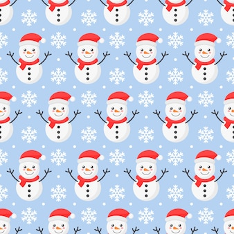 Christmas seamless pattern. snowman isolated on blue