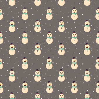 Christmas seamless pattern snowman isolated on gray background