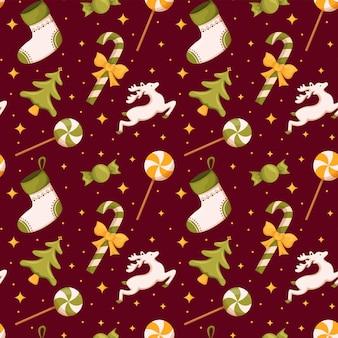 Рождественские бесшовные носки и конфетные олени милые детали оберточной бумаги дизайн