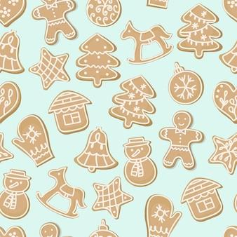クリスマスのシームレスなパターンの甘いクッキー