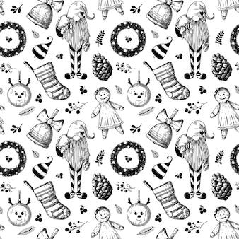 クリスマスのシームレスなパターン。おもちゃ、雪だるま、花輪、その他のクリスマスの要素。スケッチ