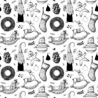 Рождественский фон. игрушки, снеговик, венок и другие новогодние элементы. эскиз