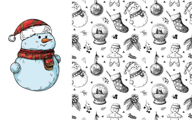 크리스마스 완벽 한 패턴입니다. 장난감, 눈사람, 화환 및 기타 크리스마스 요소. 스케치